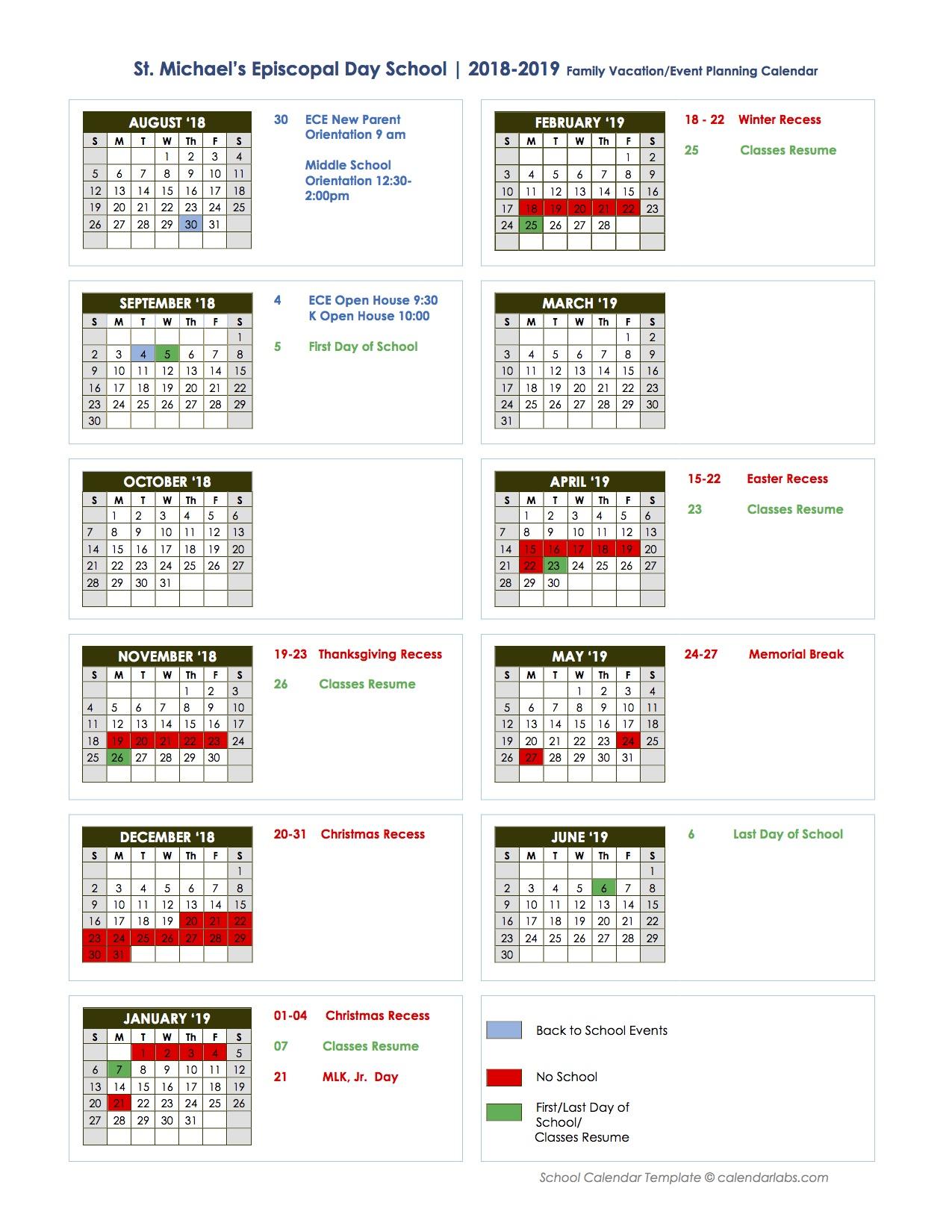 2018 19 Vacation Calendar St Michael s Episcopal Day School